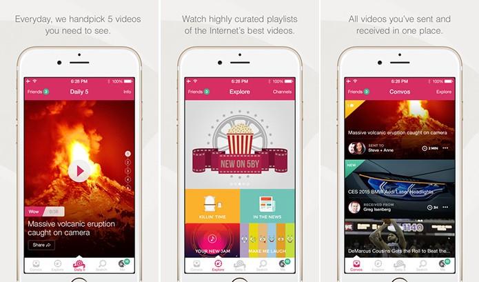 5by é um serviço de descoberta de vídeos para Android e iOS com direito a Top 5 (Foto: Divulgação/App Store)