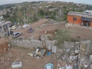 Imagens aéreas mostram o estrago causado pelo temporal em Jarinu (Foto: Reprodução/TV TEM)