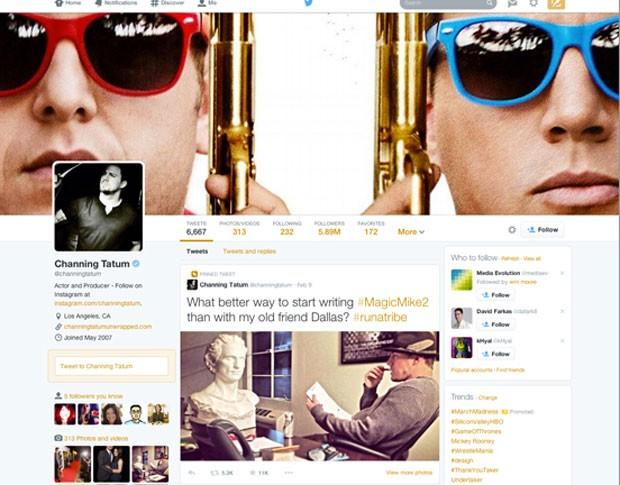 Novo perfil do Twitter do ator Channing Tatum (Foto: Divulgação/Twitter)