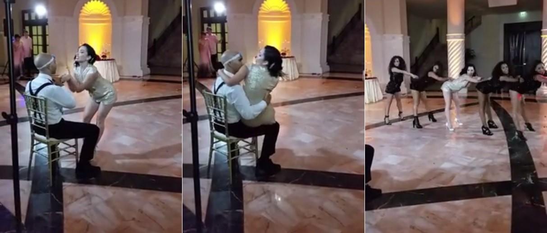 Noiva faz dança sexy para o marido na festa de casamento