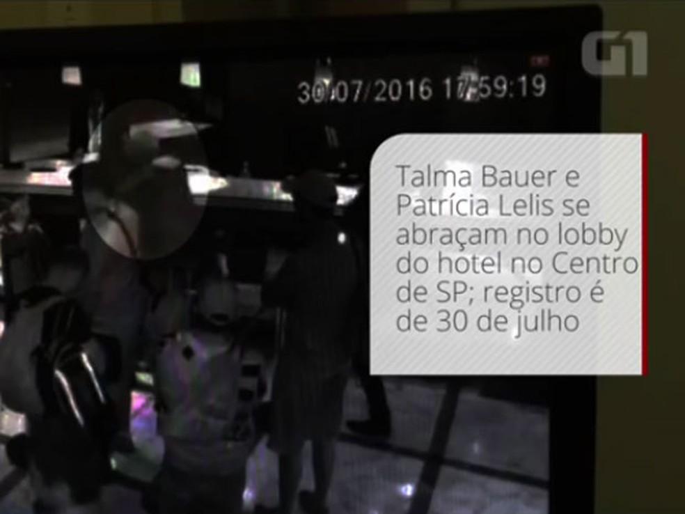 Vídeo de hotel mostra Patrícia abraçando Bauer; ela havia dito que foi sequestrada e mantida encarcerada pelo assessor (Foto: Arquivo/G1)