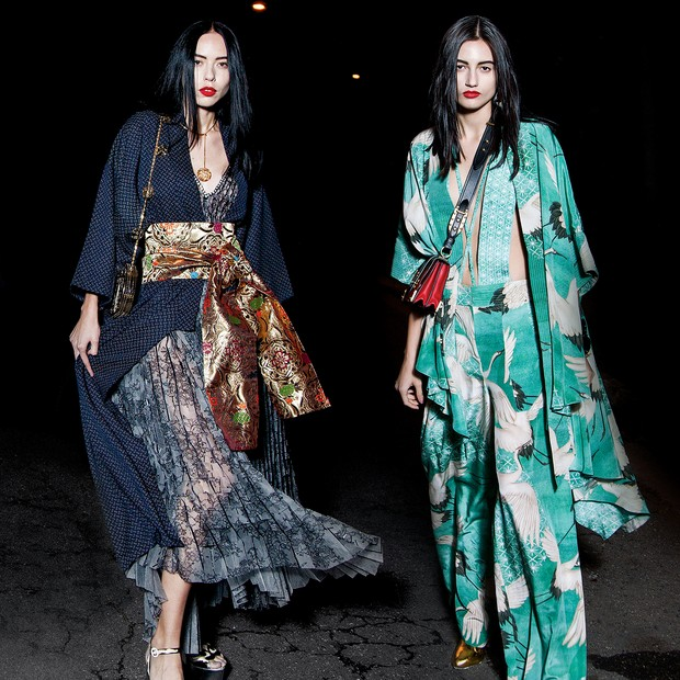 À esquerda, quimono (R$ 390) Japonique, vestido (R$ 9.225) Apartamento 03, obi (R$ 489) Maria Sanz, bolsa (R$ 1.400) Cine 732 e sandálias (R$ 5.660) Gucci. À direita, quimono (R$ 1.998), maiô (R$ 498) e calça (R$ 1.498), tudo Lenny Niemeyer, brincos (R$ 7 (Foto: Cassia Tabatini, Gil Inoue/arquivo Vogue, Zee Nunes/Arquivo Vogue e Imaxtree)