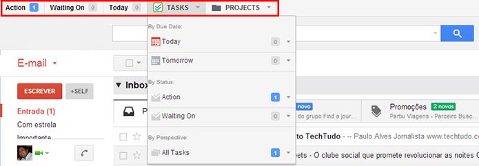Monitore suas tarefas e projetos na barra superior (Foto: Reprodução/Paulo Alves)