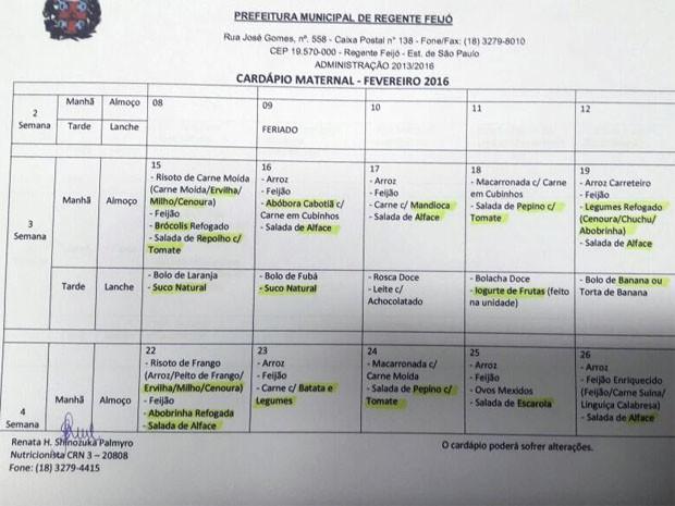 Parte de cardápio fornecido pela Divisão Municipal de Educação de Regente Feijó ao maternal (Foto: DMEC/Cedida)