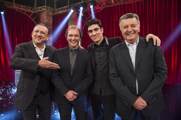 Galvão Bueno, Reginaldo Leme, Marcelo Adnet e Arnaldo Cesar Coelho no Adnight (Foto: Globo/Estevam Avellar)