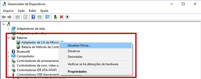 Opção para atualizar o driver (Reprodução/Daniele Starck)