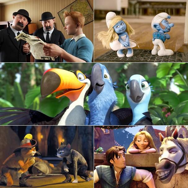 'As Aventuras de Tintim', 'Os Smurfs', 'Rio', 'O Gato de Botas' e 'Enrolados' vão ao ar na Globo (Foto: Divulgação)