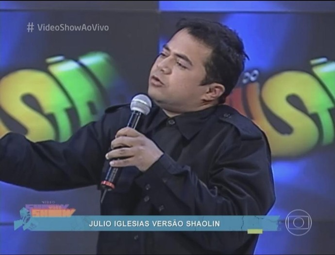 Shaolin fazia apresentações de humor no programa Domingão do Faustão (Foto: Reprodução/TV Globo)