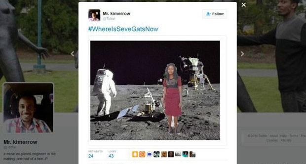 Com a hashtag #OndeEstáSeveGatAgora, surgiram memes em que Seve visita até a Lua (Foto: Reprodução/Twitter/Mr. kimerrow)