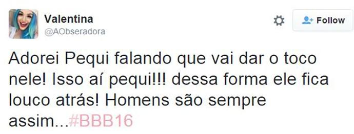 post munik bbb16 (Foto: TV Globo)