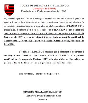 Flamengo divulga carta aberta (Foto: Reprodução )