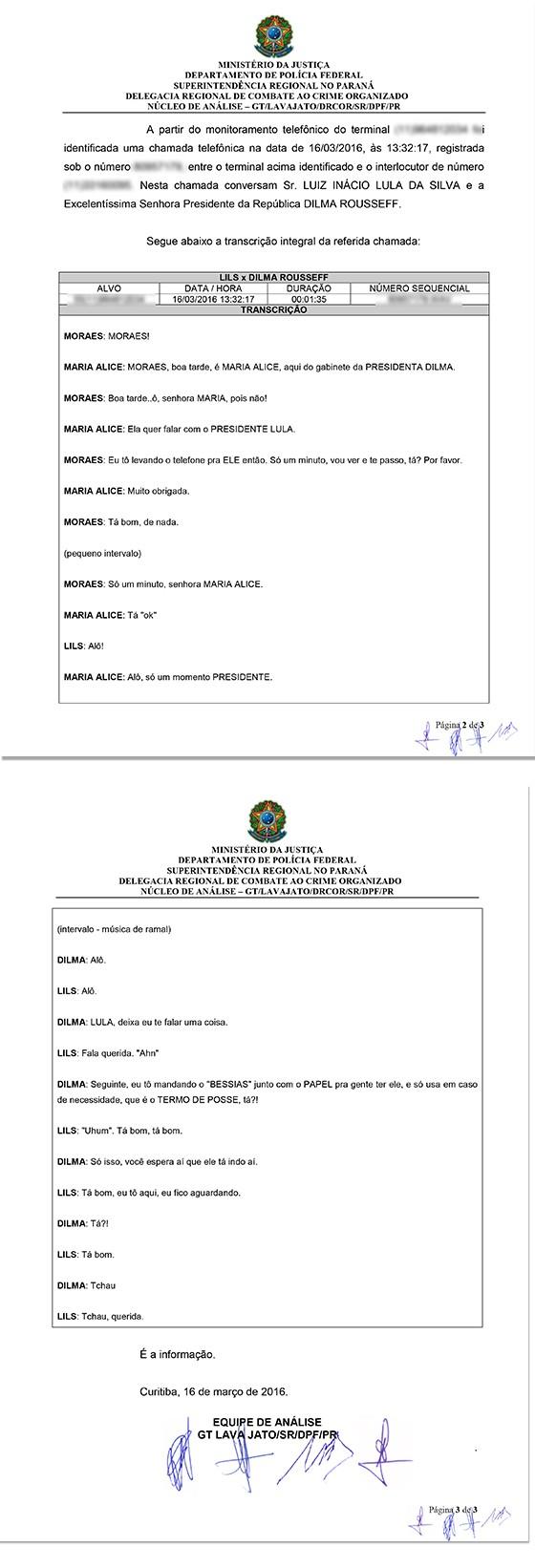 Documento da PF sobre o áudio entre Lula e Dilma Rousseff (Foto: Divulgação)