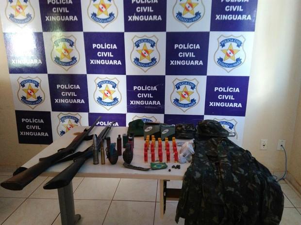 Polícia Civil apreende diversas armas em poder de suspeito de financiar roubos de motos em Xinguara  (Foto: Divulgação/Polícia Civil do Pará)