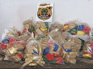 Foram apreendidos 457 kg de pasta base de cocaína (Foto: reprodução/TV Integração)