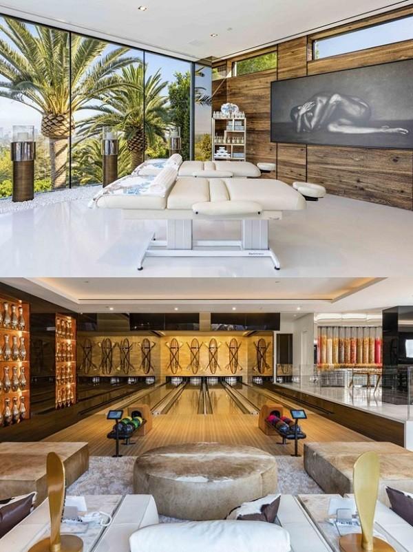 A nova casa da cantora tem até spa (foto de cima) e um gigantes salão de jogos (Foto: Reprodução)