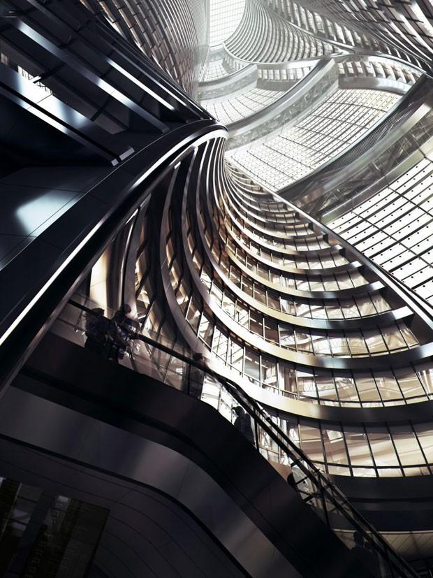 Zaha Hadid Architets vai construir o átrio retorcido mais alto do mundo (Foto: Divulgação)