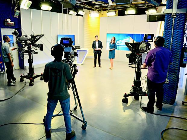 Estúdio de gravação da TV Gazeta (Foto: Guilherme Ferrari/ A Gazeta)