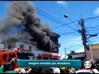 Incêndio de grande proporção atinge prédio em Prazeres, Jaboatão