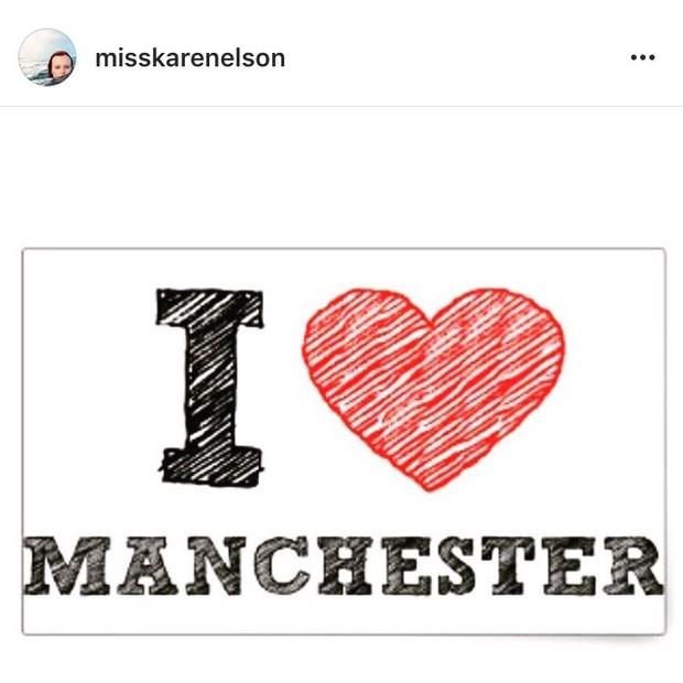 """Karen elson: """"Enviando orações pela minha linda cidade natal, Manchester. Que ato sem sentido de pura crueldade. Se há algum deus lá no céu, por favor faça essa loucura parar"""" (Foto: Instagram/Reprodução)"""