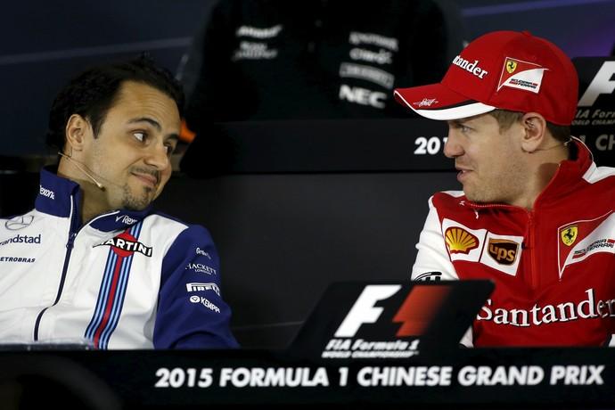 Felipe Massa e Sebastian Vettel - coletiva de imprensa - GP da China - Fórmula 1 (Foto: EFE)