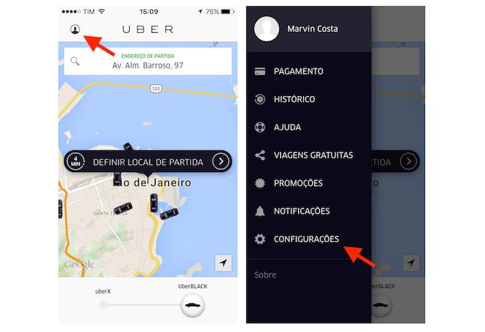 Acessando as configurações do Uber no iPhone (Foto: Reprodução/Marvin Costa)