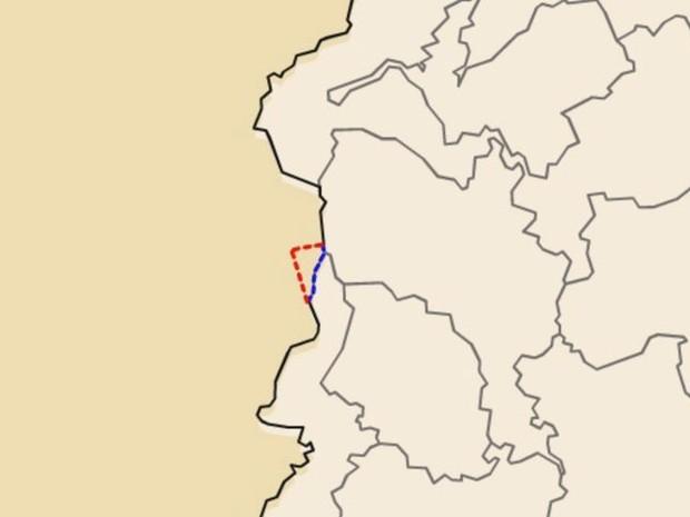 A delimitação representada pela linha vermelha garante o acesso capixaba. Se passar a ser a azul, como quer MG, o ES perde o acesso ao Parque Nacional do Caparaó (Foto: Reprodução/TV Gazeta)