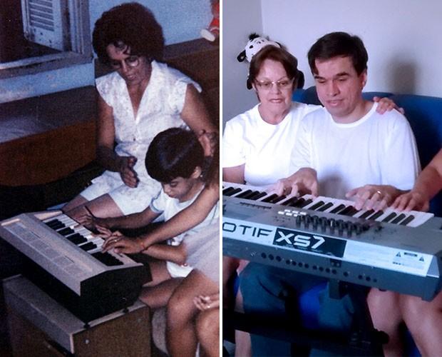 Edu Camargo fofo tocando teclado na companhia de sua mãe (Foto: Divulgação)