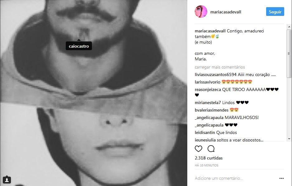 Maria Casadevall posta recado fofo para Caio Castro (Foto: Instagram/Reprodução)