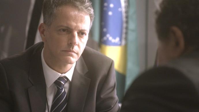 Delegado Celso interroga Venturini (Foto: TV Globo)