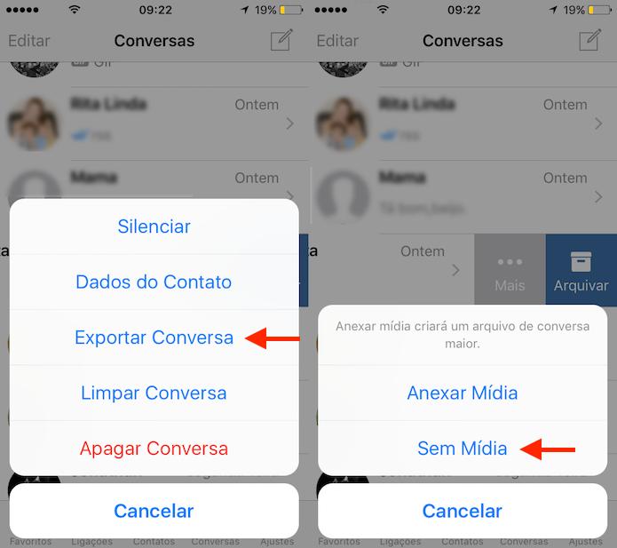 0fb59ccf8fa Opção para exportar uma conversa do WhatsApp sem mídia anexada no app para  iPhone (Foto