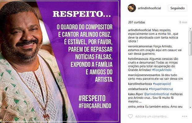 Arlindo Neto, filho de Arlindo Cruz, pede respeito (Foto: Reprodução/Instagram)