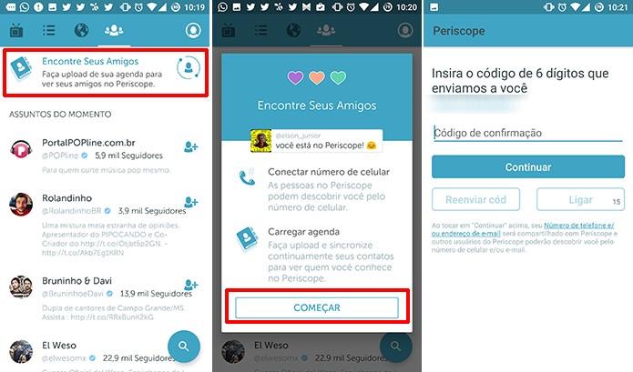Periscope permite procurar contatos do usuário no Android e iOS (Foto: Reprodução/Elson de Souza)