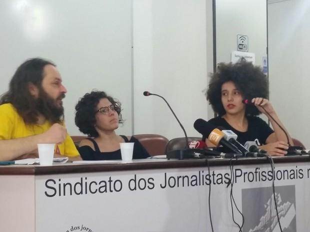 Integrantes do MPL em coletiva de imprensa (Foto: Tatiana Santiago/G1)