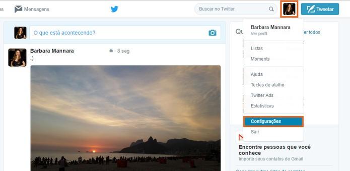 Acesse as configurações da sua conta do Twitter pelo computador (Foto: Reprodução/Barbara Mannara)