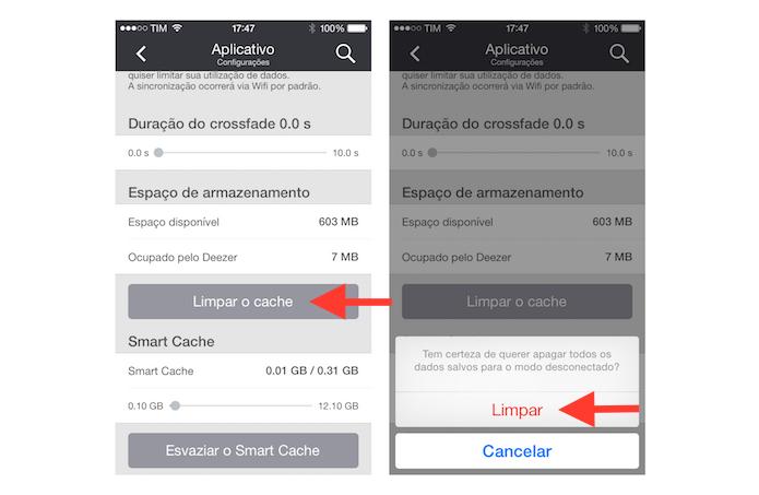 Limpando o cache de músicas no modo offline do Deezer no iOS (Foto: Reprodução/Marvin Costa)