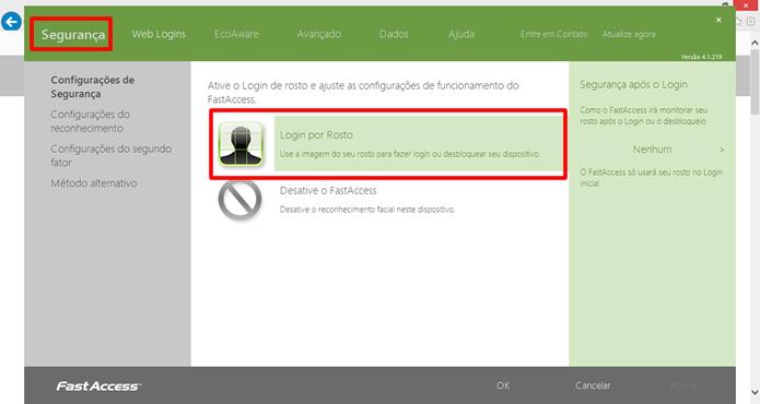 """Ative a verificação pela webcam no box em destaque, localizado na aba """"Segurança"""" do FastAccess(Foto: Daniel Ribeiro / TechTudo)"""