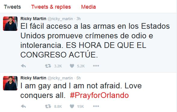 Ricky Martin critica, no Twitter, fácil acesso a armas nos Estados Unidos (Foto: Reprodução/Twitter)