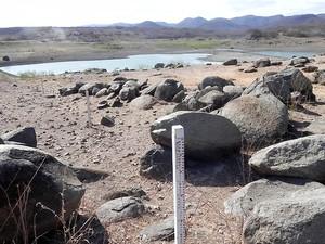 Nem os maiores açudes, como o da Gamela, têm resistido à seca deste ano (Foto: Taiguara Rangel/G1)