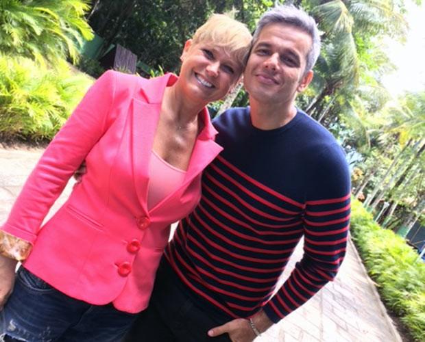 Otaviano Costa acompanha Xuxa nos preparativos da festa (Foto: Vídeo Show / TV Globo)