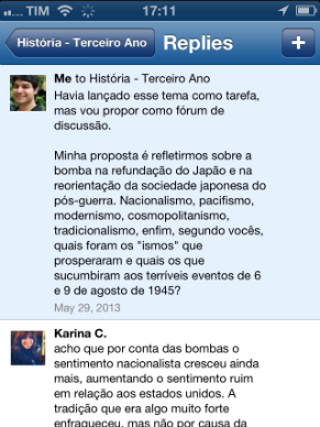 Debate entre professor e alunos na rede Edmodo (Foto: Divulgação/ Rodrigo Abrantes)