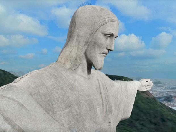 Cristo Redentor pode ser visto em detalhes na experiência (Foto: Reprodução/NEXT Puc Rio/Divulgação)