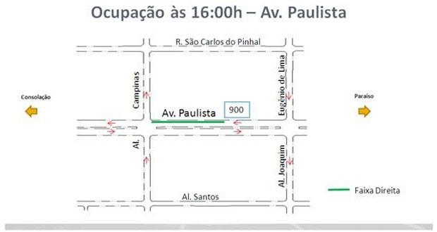 Interdições têm início às 16h desta quarta-feira (30), na Avenida Paulista (Foto: Divulgação: CET)