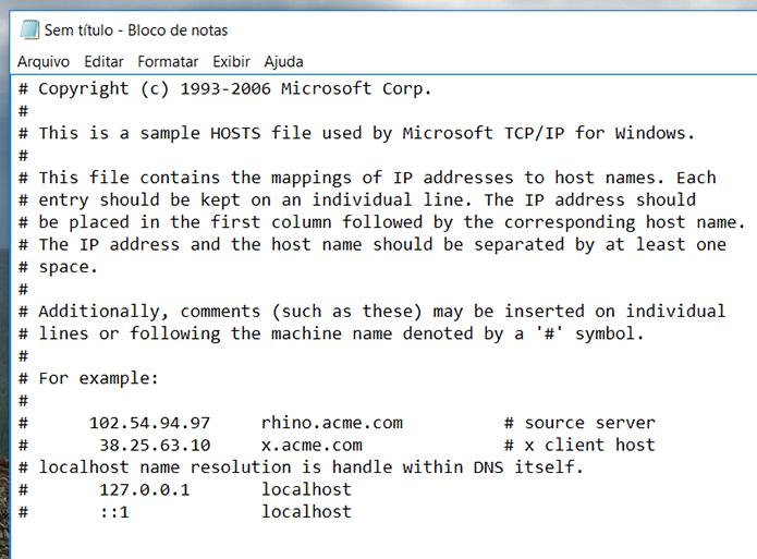 Certifique-se de que seu arquivo hosts segue o mesmo padrão do apresentado na imagem (Foto: Reprodução/Filipe Garrett)