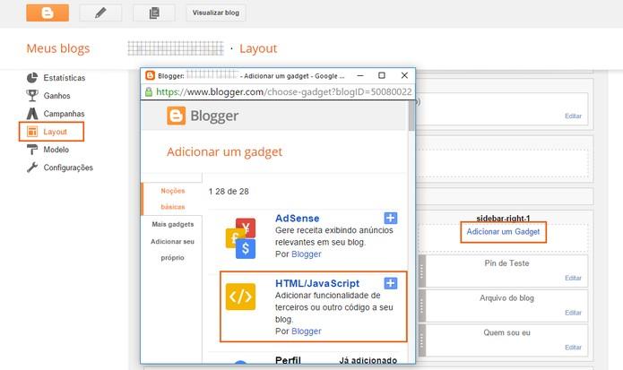 Localize a área do site na qual deseja adicionar o widget (Foto: Reprodução/Barbara Mannara)