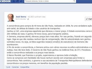 Post José Serra no Facebook (Foto: Reprodução)