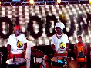 Banda Olodum ensaia nesta terça-feira no Pelourinho (Foto: Luciana Rossetto/G1)