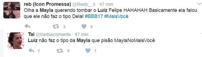 Mayla deu 'toco' em Luiz no Mais Você (Foto: Reproduçã Internet)