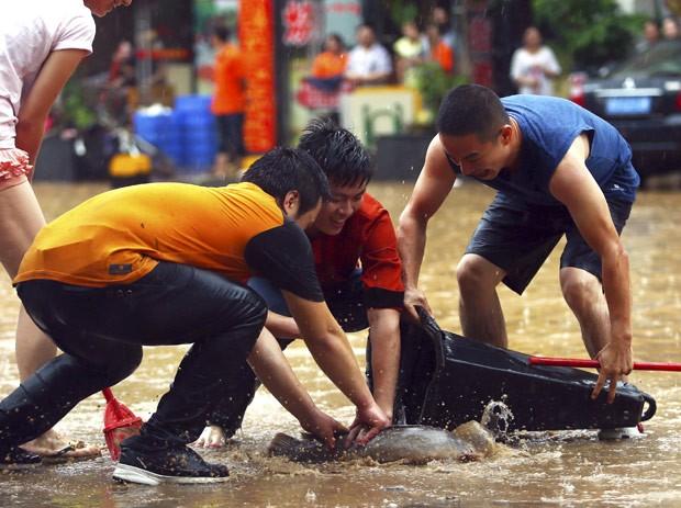 Moradores usaram cone para capturar peixe em rua alagada (Foto: China Daily/Reuters)