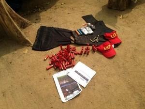 Polícia apreendeu armas e munição (Foto: Franciele do Vale/G1)