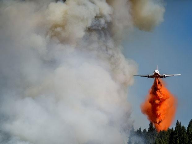 Avião ajuda no combate a incêndio na floresta de Fresh Pond, na Califórnia (Foto: Noah Berger/Reuters)